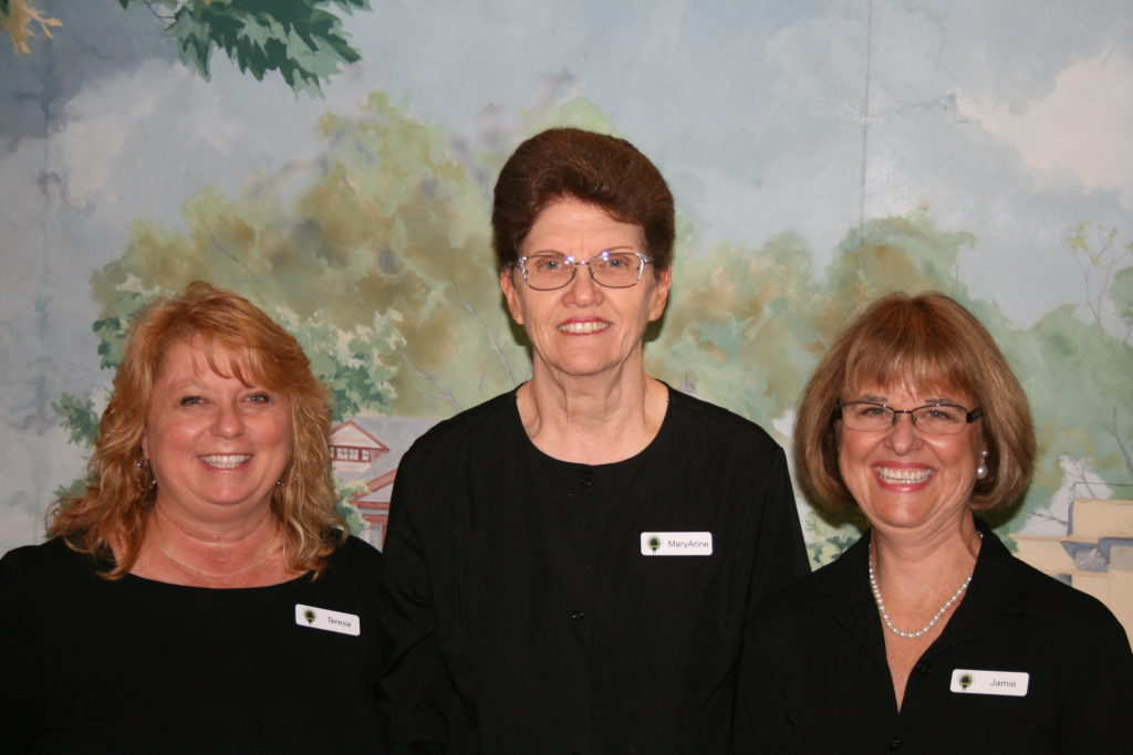Meet our talented front office staff! From left to right: Teresa, Mary Anne, and Jamie