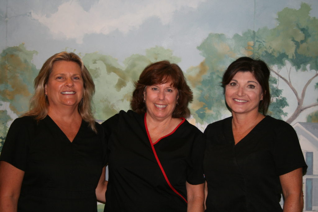 Three of our fantastic hygienists! From left to right: Debbie, Beth, and Gina